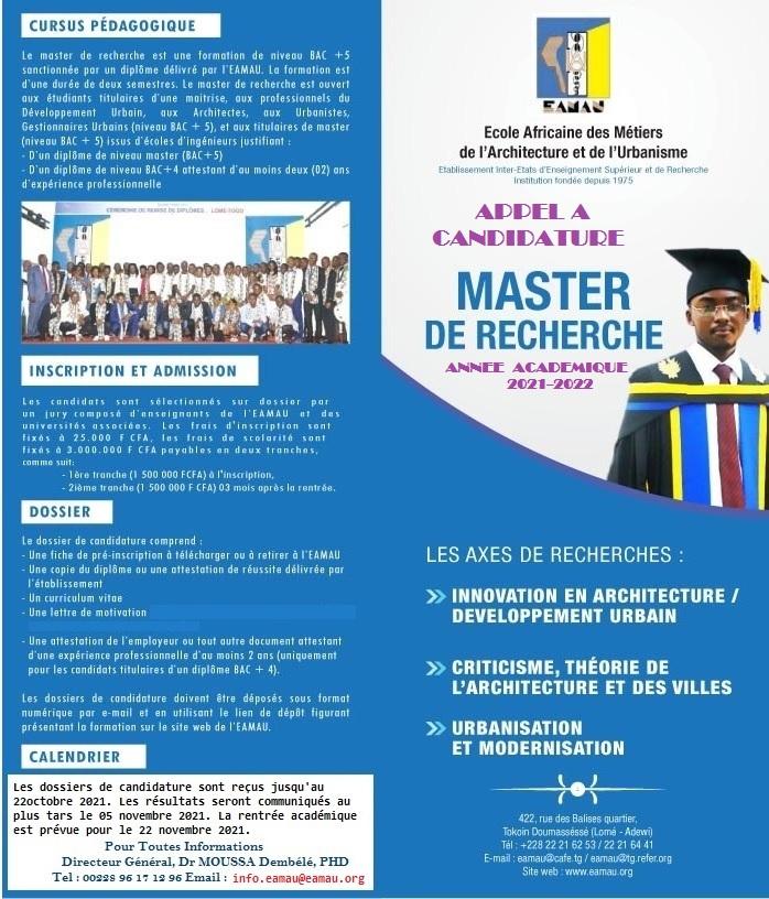 Appel à candidature Master Recherche Architecture et Développement Urbain 2021-2022